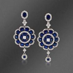Dangle Earrings Solid 925 Sterling silver Oval Blue White Round Flower jewelry #NIKI #DropDangle