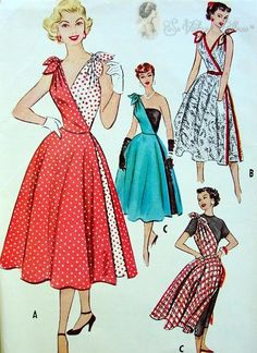 RARE 1950s  Cut In Two Promotional Dress Pattern Two Separate Halves, Two Pattern Pcs, Bombshell Marilyn Style Casual or Evening Quick N Eas...