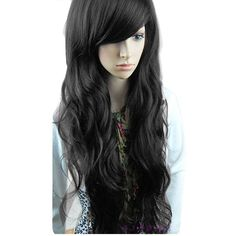 New Arrive Chic Women Girl Long Nice Big Curly Full Wavy Hair Inclined Bang Wig Costume