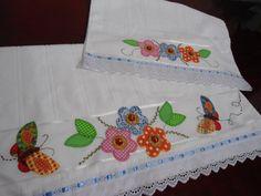 Namari Artesanato: Conjunto de toalhas banho e rosto com apliquê
