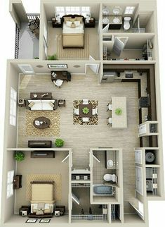 Entorior House Floor Plans, 2bhk House Plan, One Bedroom House Plans, House Layout Plans, Apartment Floor Plans, House Plans One Story, Story House, Modern House Plans, House Layouts