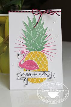 is Stampin' & Scrapping: Stampin' Up! Card with Pop of Paradise, Pineapple Kinda EclecticYvonne is Stampin' & Scrapping: Stampin' Up! Card with Pop of Paradise, Pineapple Kinda Eclectic Scrapbooking, Scrapbook Cards, Pineapple Backgrounds, Hand Stamped Cards, Stampin Up Catalog, Bird Cards, Creative Cards, Homemade Cards, Stampin Up Cards