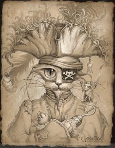 PIRATE CAT Art / / 8 X 10 Print / / Cat affiche par JeffHaynieArt