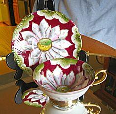 Striking Occupied Japan pedestal teacup. For sale at More Than McCoy at www.morethanmccoy.com