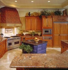 Oak Cabinets with Granite Countertops | oak cabinets granite countertops | Great Room. Cool idea here, with the blue island sink.