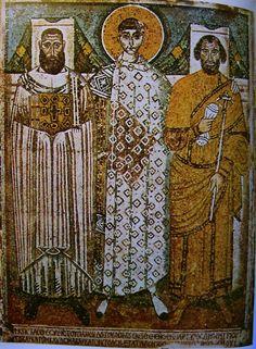 Thesszaloniké, Szt. Demeter-templom (ép. 412; 5. sz. II. f.): Demeter a város prefektusával Leontisszal és püspökével Joannésszal. 629-634., mozaik