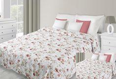 Prehoz na posteľ bielej farby s motívom červených kvetov Comforters, Blanket, Bed, Furniture, Home Decor, Creature Comforts, Quilts, Decoration Home, Stream Bed
