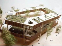 Elevated communal area or community garden Maquette Architecture, Concept Models Architecture, Architecture Model Making, Architecture Student, Futuristic Architecture, Landscape Architecture, Architecture Design, Arch Model, Pop Design