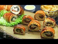 Rulada de pui cu ciuperci invelita in bacon   Adygio Kitchen Bacon, Starters, Recipies, Good Food, Party, Chicken, Ethnic Recipes, Kitchen, Knits