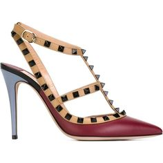 Valentino Garavani 'Rockstud' pumps (€800) ❤ liked on Polyvore featuring shoes, pumps, red, leather pointed toe pumps, leather pumps, valentino pumps, red stiletto pumps and ankle strap pumps