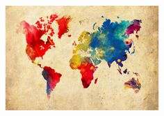 World Map 16x20 Absract Print Poster. $19.95, via Etsy.