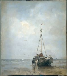 Jacob maris, Bomb Barge On The Beach Of Scheveningen. 1899