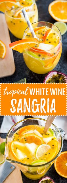 Tropical White Wine Sangria | Sparkling White Sangria | Lemonade Sangria Blanca | Passion Fruit Sangria | Refreshing Summer Drink | Summer Party