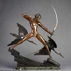 A rare Art Deco patinated bronze by Marcel Bouraine, edited by Etling Paris, 1930s.