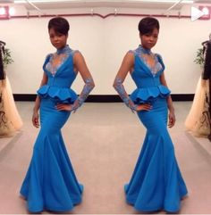 Nigerian Ankara Mermaid High Neck Lady Formal Dresses African Blue Evening Gowns With Lace Long Sleeves