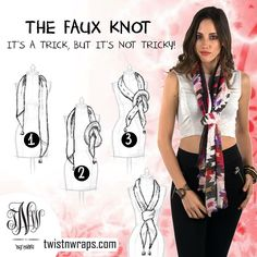 Style Your Scarf With the Faux Knot in just 3 steps!  Step 1 Wrap the scarf around your neck with one end slightly  longer than the other.  Step 2 Take the longer end and tie a loose knot halfway up.  Step 3 Take the shorter end and pass it through the knot. finally, tighten the grip of knot.  Try the Faux knot with Brazil Plain Scarf from TwistnWraps, they make a perfect combination   Brazil plain Scarf: http://twistnwraps.com/productDetail.php?cl=Casual&ct=All&clr=All&pid=22&cid=1…
