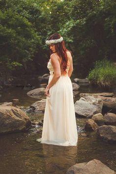 #cream #whitedress #maxidress #boho #ethereal #whimsy #flowercrown