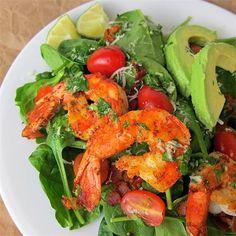 Cajun Shrimp Salad with Homemade Cilantro Lime Dressing by @yayitskate