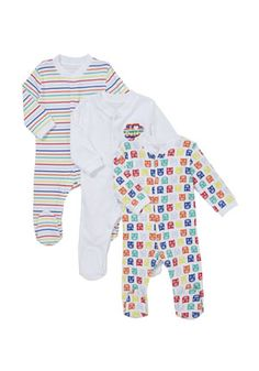 F&F 3 Pack of Striped Owl Sleepsuits