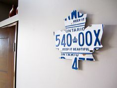 Toronto Maple Leaf Art with License Plates - Handmade Vintage Industrial Decor - White Plates on Etsy, $45.50