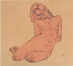 A crouching woman, 1914 by Koloman Moser. Art Nouveau (Modern). sketch and study