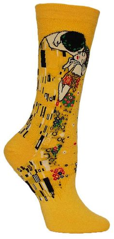 """Is your heart melting? Crew length socks featuring Gustav Klimt's """"The Kiss"""" -- available in Sunflower or Washed Blue. Fits a women's shoe size 5-10."""