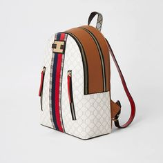 Shop our new Beige RI monogram zip front backpack at River Island today. Faux Leather Fabric, You Bag, River Island, Purses And Bags, Monogram, Range, Backpacks, Zip, Cookers