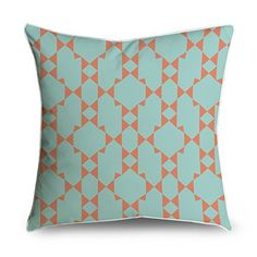 FabricMCC Orange and Teal Moroccan Quatrefoil Square Accent Decorative Throw Pillow Case Cushion Cover 18x18