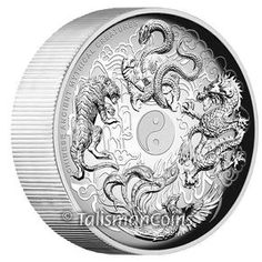 Tuvalu 2015 Ancient Chinese Mythical Creatures - Yin and Yang - White Tiger, Red Phoenix, Blue Dragon, and Black Tortoise Chinese Lunar Zodiac $5 5 Ounce Pure Silver Ultra High Relief Medallic Proof Piedfort P03 P04 - MINTAGE 1,000 - Talisman Coins
