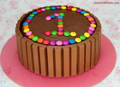 Send Kit Kat and Gems chocolates cake anywhere in india. Chocolate Kit Kat Cake, Chocolate Fountain Recipes, Online Cake Delivery, 1st Birthday Cakes, Birthday Ideas, Candy Cakes, Fun Cakes, Cake Images, Diy Cake