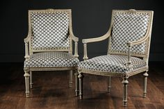 Antique French Pair of Empire Hand Painted Chairs with Gilding and Upholstered in Modern Double Helix Cut Taupe and Grey Velvet with Solid Gray Backs