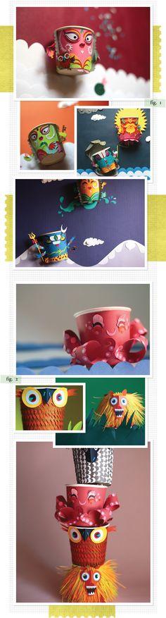 paper cup creatures