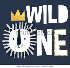 Immagine vettoriale stock 661929880 a tema Wild One Slogan Lion Head Illustration (royalty free)