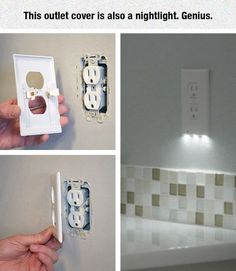 LED night light outlet covers install in seconds, use just 5 cents of power per year - Outlet Cover With Nightlight! And you wouldn't lose an outlet to have a nightlight plugged in all the time! Where can I find one ; Bar Armoire, Do It Yourself Organization, Do It Yourself Inspiration, Led Night Light, Night Lights, Nite Light, Ideias Diy, Ideas Geniales, Tips & Tricks