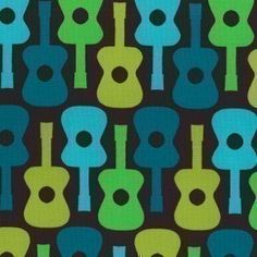 Groovy Guitar Lime Michael Miller Fabric 1 yard