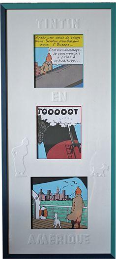 Lithographies de Tintin en encadrement multiple avec un passe partout sur coupe droite et agrémenté de motifs en embossage.