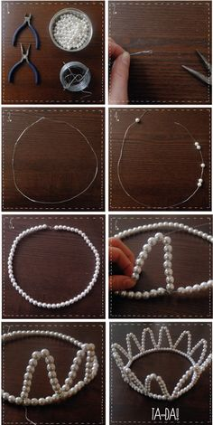 Pearl crown #DIY. Easy, simple, and absolutely adorable! This is perfect for Bid Day or to give to your little.