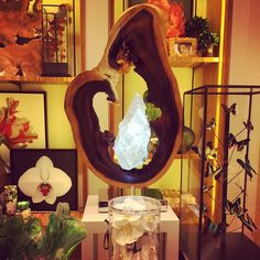 contemplation sculpture selenite crystal acacia wood at the wynn home store by dorit