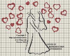 Grille gratuite point de croix : Le Baiser des Mariés