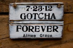 Adoption Sign  Rustic  Personalized  Gotcha by HopeFarmHunnyB, $12.50