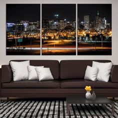 39870   Denver Night City Cityscape Wall Art Canvas Print