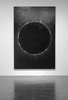 minimalism - black circle/moon on canvas