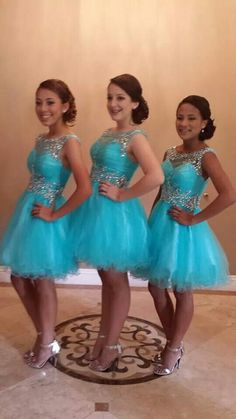 Turquoise Homecoming Dresses 2018 Short Prom Party Gown A Line Backless Tulle Pleats Beads Crystals Graduation Dress Custom Made Plus Size - Plus Size Graduation Dresses - Ideas of Plus Size Graduation Dresses Turquoise Homecoming Dresses, Bridesmaid Dresses Plus Size, Blue Bridesmaids, Bridesmaid Gowns, Dama Dresses, Court Dresses, Quinceanera Dresses, Cinderella Quinceanera Themes, Quinceanera Court