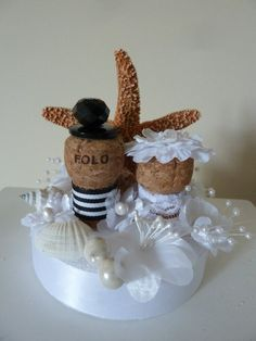 Champagne and Starfish Wedding Cake Topper by TheBeadedCork, $30.00