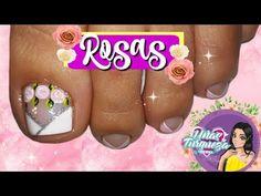 Decoracion Uñas Rosas/Diseño Uñas Piies/Uñas Turqueza - YouTube Toe Nail Designs, Toe Nails, Roses, Toenails Painted, Simple Toe Nails, Pretty Toe Nails, Toe Nail Art, Feet Nails, Toenails