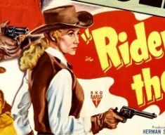 Close up of female with drawn pistol. The poster says the female in the movie was Jacqueline Wells, however, this illustration is of Hollywood star Rhonda Fleming. I guess Rhonda was better looking than Jacqueline - or Rhonda was first hired but quit.