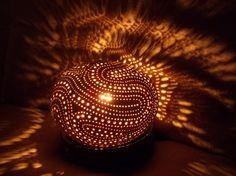Carved white (young) coconut lamp : €70 . Visit our online shop with the link below (Lampe en noix de coco blanche,visitez notre boutique en cliquant le lien suivant:) VENDUE/SOLD
