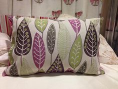 Beige, Brown, Green and Purple leaf handmade decorative cushion cover. Cushion Covers available from £3.99 For more info:  https://www.facebook.com/LynsCurtainCorner/photos_stream?ref=page_internal