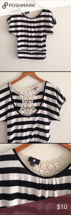 Women's IZ Byer Striped Top Black & white striped top with crochet lace racerback, size extra small. Fitted elastic band at waist, wide neck hangs loose on shoulders. Open to offers! Iz Byer Tops