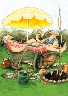 Inge Look illustrator. Old Women, Old Ladies, Illustrators, Whimsical, Friendship, Illustration Art, Old Things, Artsy, Drawings